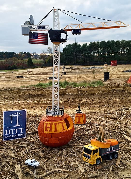 Pumpkin carving contest, tower crane entry